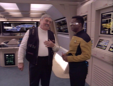 Which ST: TNG episode saw Scotty make an appearance on the Enterprise D?