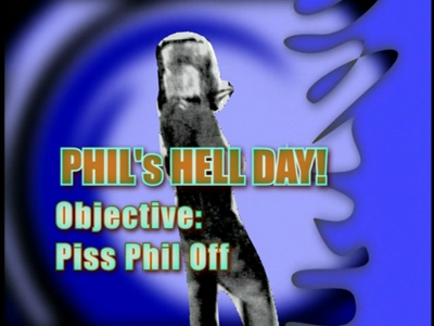 What is the first thing Bam does to piss Phil off in 'Phil's Hell Day'?