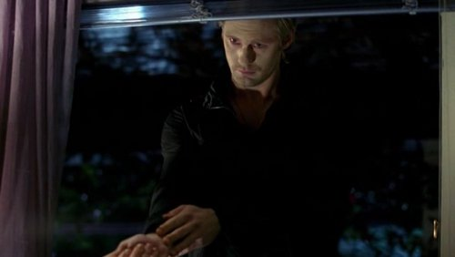 On True Blood, who's window is Eric visiting in the picture below?