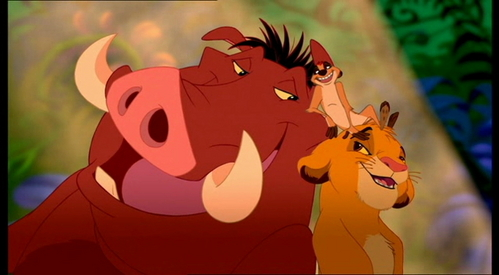 How many years does Simba spend with Timon and Pumbaa?