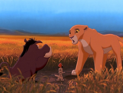 What is Timon and Pumbaa's exuse for bumping into Kiara on her first hunt?