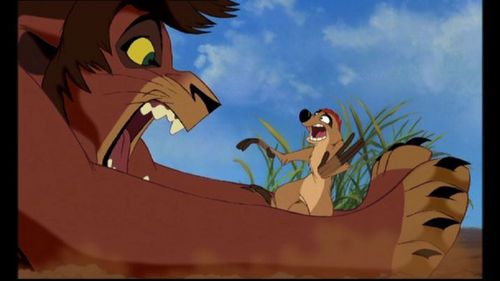 What does Timon call Scar on the bukit, hill with Kiara and Kovu?