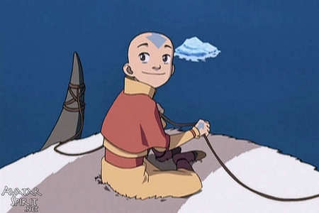 "What is Aang's response to Katara's question, ""Why are you smiling at me like that?"""