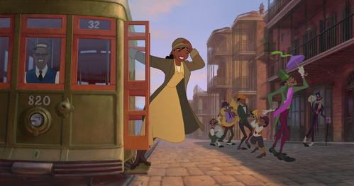 Where is Tiana going in this picture?