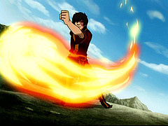 True or False: We have seen Zuko breathe fire in the series.