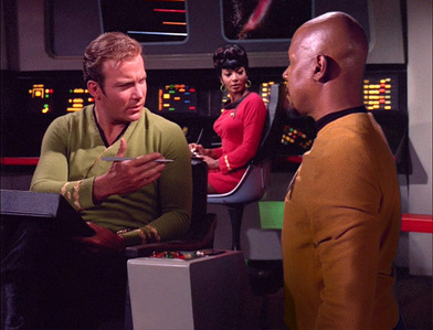 The scene where Sisko gets an autograph from Kirk was taken from which TOS episode?