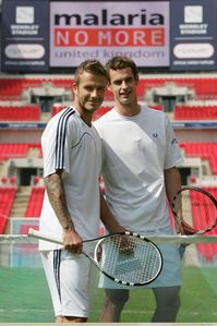 At the Malaria No More event who did he tell Beckham was the best player he'd ever played?