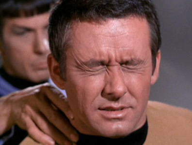 In what episode is the 'Vulcan neck pinch' first introduced?