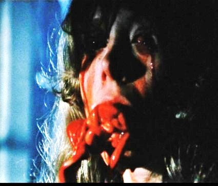 """""""City Of The Living Dead"""" (1980), In the semi-classic puking scene what did the actress stuff her mouth with to create the effect ?"""