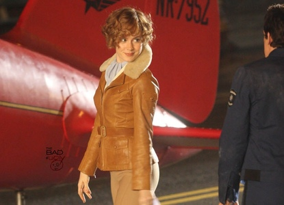 Which actress played Amelia Earhart? And does anyone know what Larry said she was made out off?