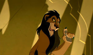 I think Scar is populaire because he his a great handsome lion MDR i think he is cool but i l'amour villians so oh well