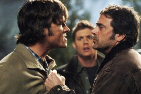 """Sam is just tall! Jared is 6'4"""".  Jensen's height is listed at 6'1"""" just about everywhere, but unless it's their footwear, he always seems to me to be about 4 inches shorter than Jared, so possibly he's 6'.  Jeffrey Dean Morgan is 6'2"""", so yeah, they make Dean look short!"""