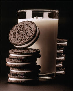 i twist open my oreo, and lick out the filling, before eating the chocolate cookie goodness last. (if i have several cookies, i lick the filling out of all of them before eating the cookie goodness ^^) and u have to have a glass of دودھ with it!