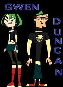 names:gwen and duncan. age:16. hair color: green and black. friends:courtney,izzy,duncan