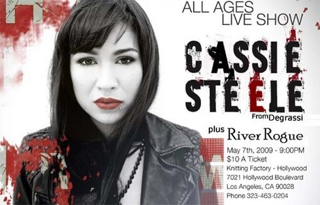 Come check out CASSIE STEELE (Manny from Degrassi!) performing at Knitting Factory Hollywood susunod T