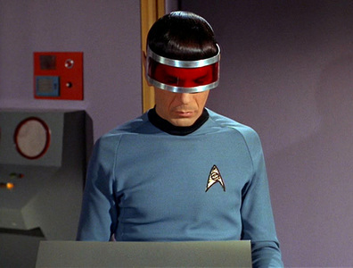 """Spock: """"You think Geordi's the only one who can pull off awesome visors? Guess again pal!"""""""