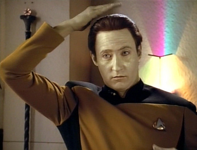 Soong: Your back, Data, not your head. Pat yourself on the back!