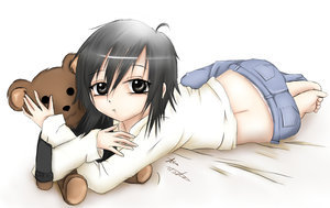 *walks in the playroom* hey A-kun who is she?