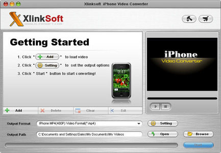 Xlinksoft iPhone Video Converter 2009 can convert all popular video(AVI, MPEG, WMV, MOV, MP4, VOB,