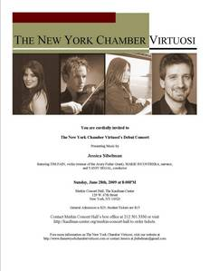 The New York Chamber Virtuosi' début concert! Merkin концерт Hall, New York, Sunday June 28, 2009 at