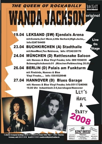 Rock'n'Roll Remembered वॉलपेपर titled Wanda Jackson 2008 संगीत कार्यक्रम Poster