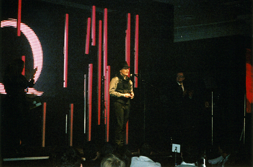 giving speach at q awards