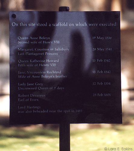 Close-up of Plaque on Tower Green