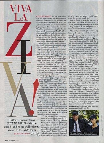 Cote de Pablo (Ziva) Artikel in TV Guide