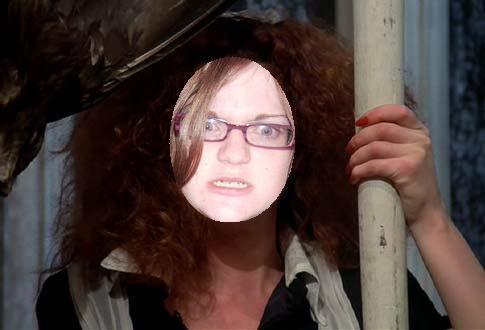Dazl sticks her face in a Magenta Cutout