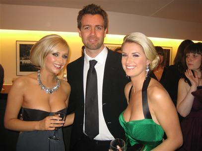 Gemma Merna (Carmel) and Sarah Jayne Dunn (Mandy) pose with Hollyoaks Director Steve Brett.