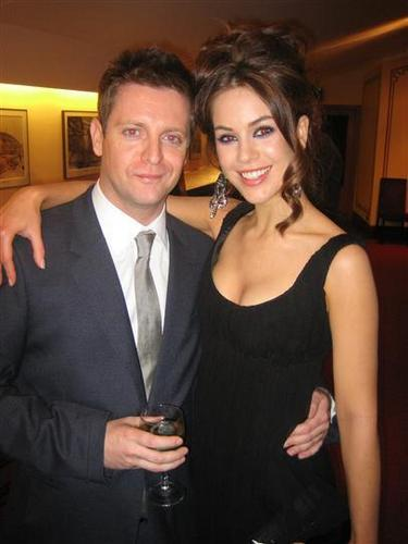 HOLLYOAKS Producer Bryan Kirkwood with Roxanne McKee (Louise)