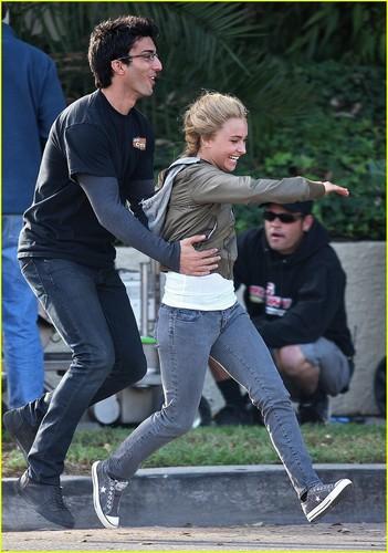 Hayden on Set