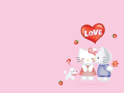 Hello Kitty پیپر وال entitled Love پیپر وال