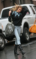 Whitney Port looking cute in the rain this morning