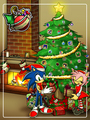christmas tree almost done - sonic-christmas photo