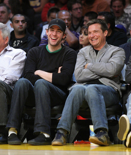 Jason and John Krasinski at Lakers Game