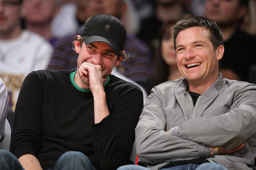Jason and John Krasinski at Lakers Game
