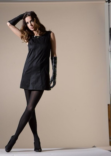 Mini Dress and Black Gloves
