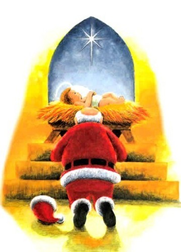 Christmas images Santa Claus Worshipping Baby Jesus  (Christmas 2008) wallpaper and background photos