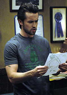 It's Always Sunny in Philadelphia wallpaper possibly with a sign, a bistro, and a newspaper entitled Mac