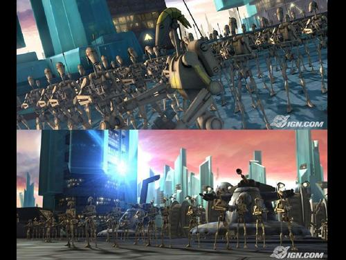 ster Wars: Clone Wars achtergrond possibly containing a business district, a street, and a theater entitled Clone Wars