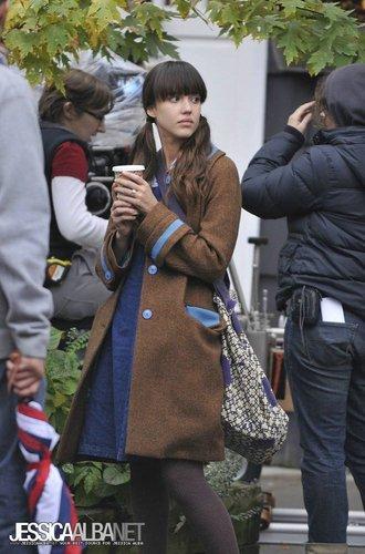 Jessica on set