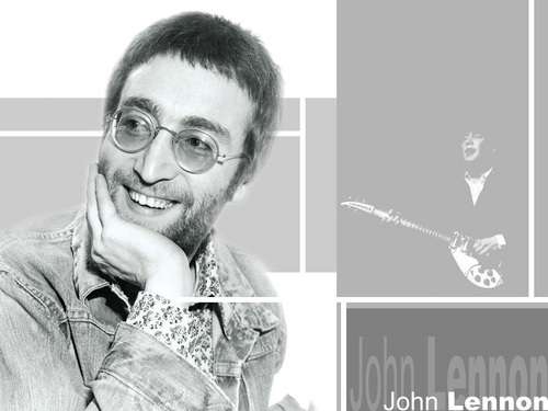 John Lennon 바탕화면 probably containing a green 베레모, 베 레모 and a portrait entitled Lennon