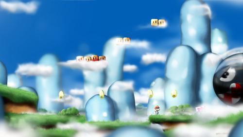 Nintendo پیپر وال entitled Mario Landscape