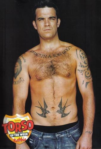 Robbie Williams wallpaper with a six pack and a hunk entitled Mixed Pictures