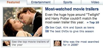 Twilight is #3 on Yahoo!'s শীর্ষ 10 Trailers of 2008