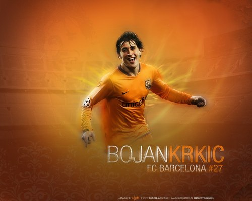 Bojan Krkić দেওয়ালপত্র probably with a sunset and a sign called Bojan Krkic Barcelona