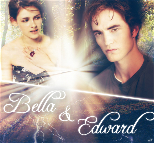 Edward and Bella achtergrond possibly with a sign and a portrait called Edward&Bella<3