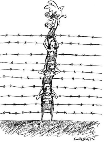 Human Rights karatasi la kupamba ukuta with a chainlink fence called HR siku Cartoon Exhibit