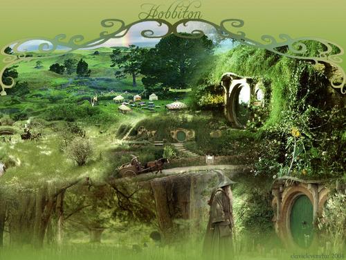 Le Seigneur des Anneaux fond d'écran possibly with a beech and a live oak titled Hobbiton